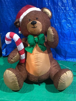5' Air Blown Inflatable Mixed Media Brown Teddy Bear w/ Candy Cane PROTOTYPE