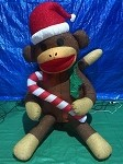6' Air Blown Inflatable Mixed Media Sock Monkey w/ Candy Cane PROTOTYPE