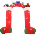 9 1/2' Gemmy Airblown Mixed Media Inflatable Stockings Archway w/ Presents