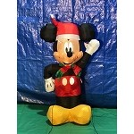 3 1/2' Gemmy Airblown Inflatable Mickey Mouse w/ Santa Hat and Scarf