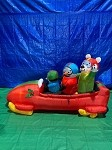 7' Gemmy Airblown Animated Inflatable Shaking Penguin And Friends In Bobsled