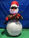 6' Gemmy Airblown Inflatable Hunting Snowman In Camo Holding Rifle