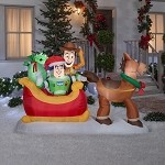 8' Gemmy Airblown Inflatable Toy Story Bullseye Pulling Sleigh w/Woody, Buzz, Pizza Planet Alien