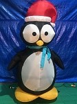 7 1/2' Gemmy Airblown Inflatable Penguin Wearing Santa Hat