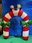 10' Gemmy Airblown Inflatable Mixed Media Candy Cane Archway With Penguins