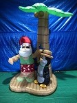 7 1/2' Air Blown Inflatable Santa and Penguin Beach Scene PROTOTYPE