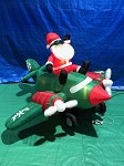 7 1/2' Gemmy Airblown Animated Inflatable Santa on Green 2 Prop Plane