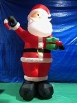 12' Gemmy Airblown Inflatable Giant Santa Holding Present & Candy Cane
