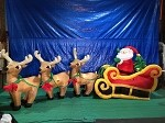 16' Gemmy Airblown Inflatable Colossal Santa in Sleigh Pulled by 3 Reindeer