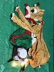 5' Gemmy Airblown Inflatable Rudolph the Red Nose Reindeer w/ Scarf and Present