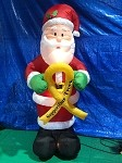 8' Gemmy Airblown Inflatable Santa w/ Support our Troops Ribbon