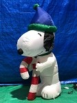5' Gemmy Airblown Inflatable Snoopy Holding Candy Cane