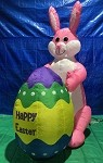 8' Air Blown Inflatable Pink Easter Bunny Holding Egg