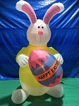 8' Air Blown Inflatable Easter Bunny Yellow Shirt