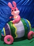 7' Air Blown Inflatable Easter Bunny in Egg Car