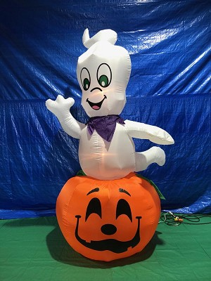 9' Air Blown Inflatable Animated Ghost on Pumpkin