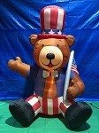 7 1/2' Air Blown Inflatable Patriotic Bear Holding Flag
