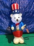 4' Gemmy Airblown Inflatable Fourth Of July White Bear