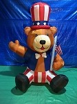 7 1/2' Air Blown Inflatable Patriotic Bear Holding Flag PROTOTYPE