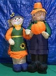6' Air Blown Inflatable Mixed Media Scarecrow Man and Woman with Pumpkin