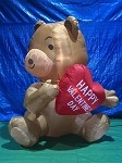 5' Air Blown Inflatable Valentine's Day Bear Holding Heart PROTOTYPE